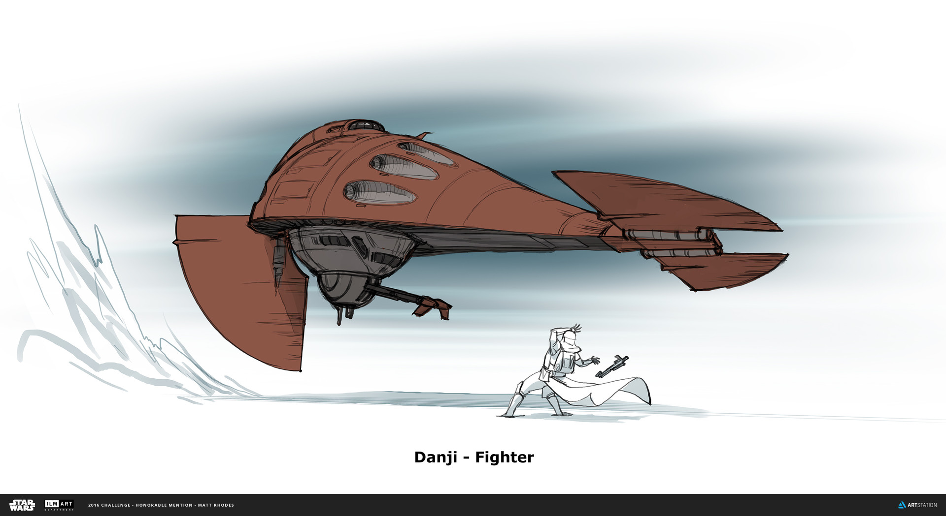 The Fighter is a 2-person craft, pilot and gunner like many star wars fighter craft. It can land on the ground by folding its fore-wings down. You can see in the reference that this is based on an upside down oil lamp.