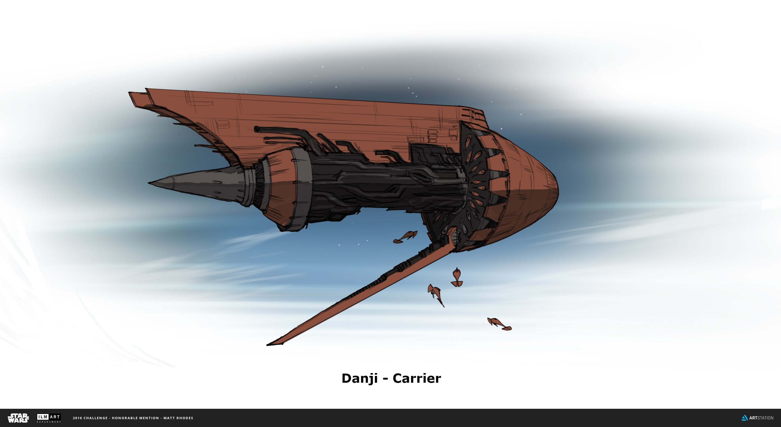 The Carrier is mostly engine. It delivers the fighters to the lower atmosphere, flying overhead and dropping them like seeds. This ship is based off of a sideways Arabian tea/coffee pot.