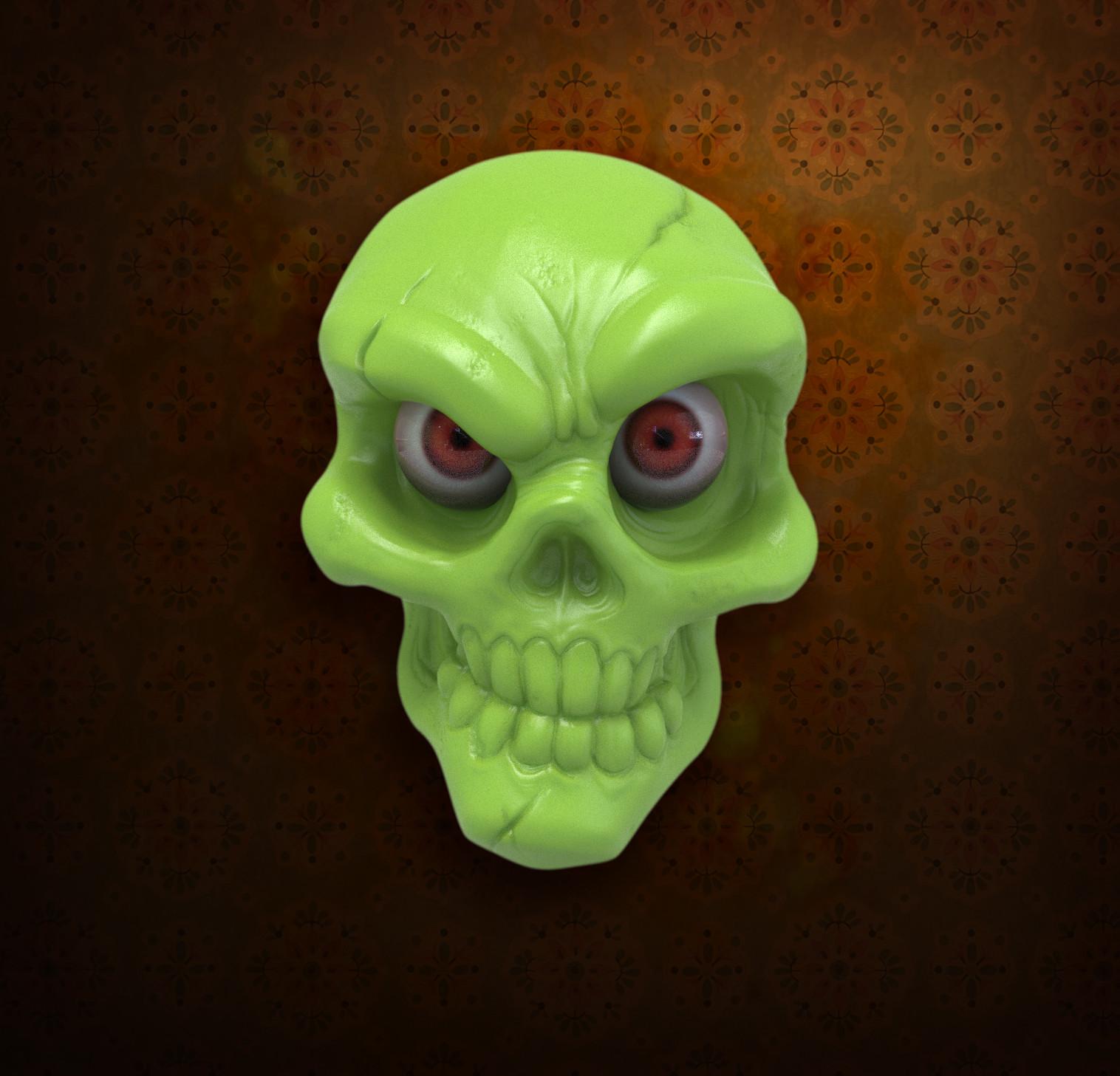 Jake angell skull green2