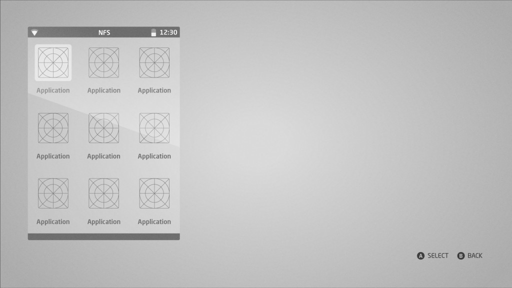 Smartphone interface concept wireframe.