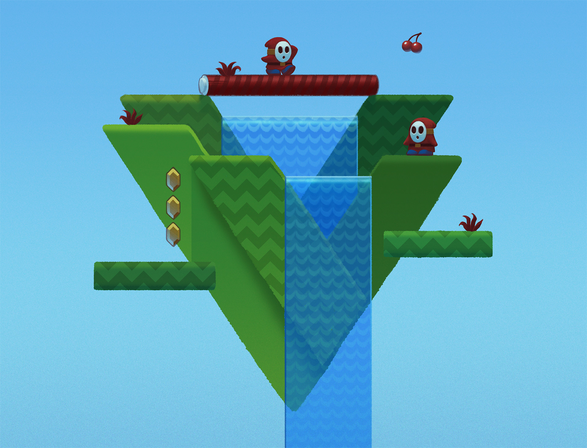 V because I wanted to do something with the the shyguy waterfalls in SMB2.