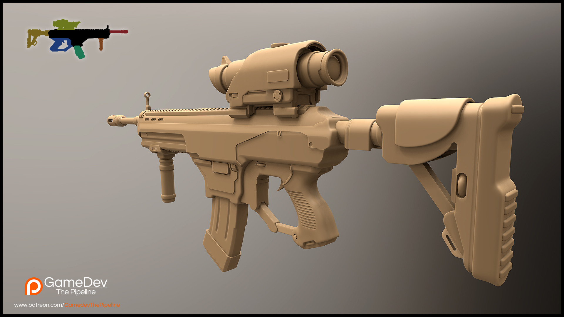 Aleksey sheludchenko assaultrifle3dconceptbackview