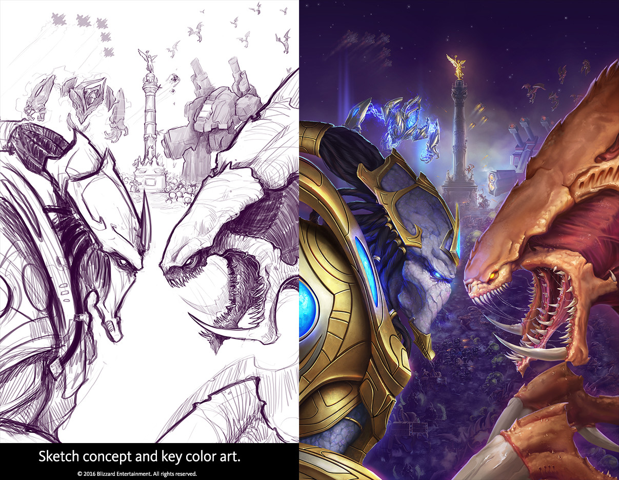 Sketch concept and Key color art