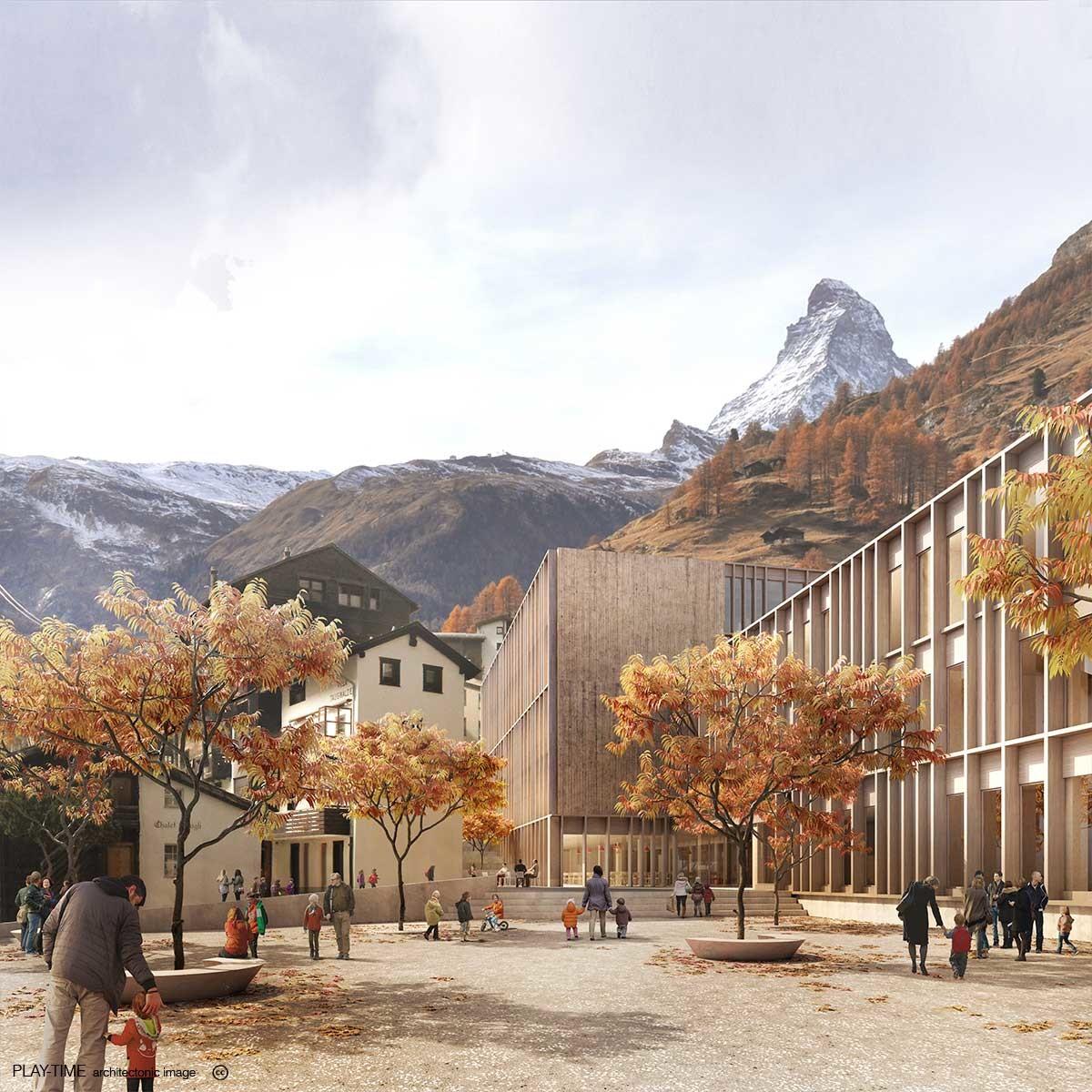 Play time architectonic image gwj architektur zermatt school 1st prize 01