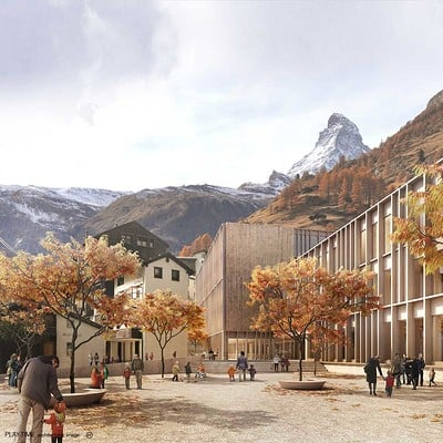 Play time architectonic image gwj architektur zermatt school 1st prize 01