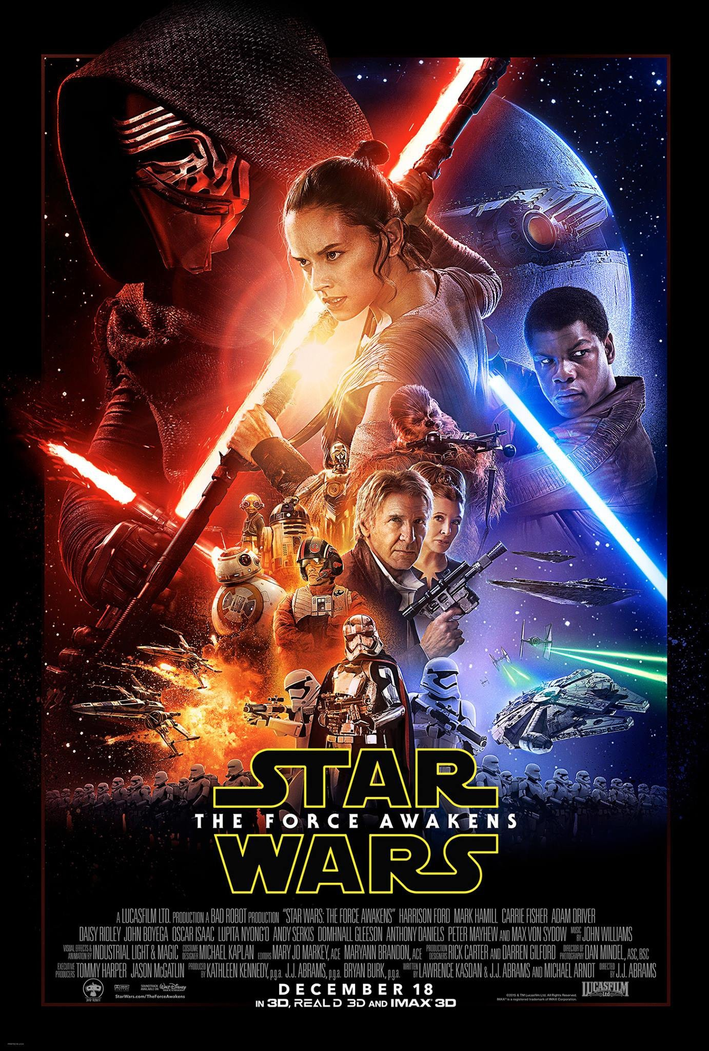 Film Poster: Masking, positioning, re-lighting characters. Provided various expressions for Han and Leia and added Maz.