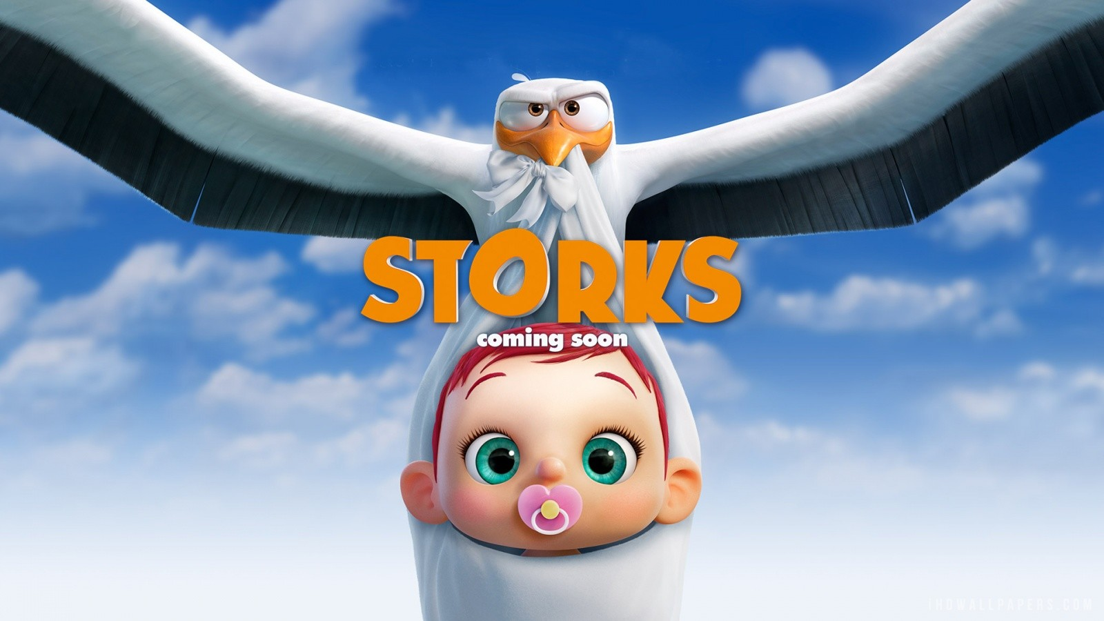 Promotional Image: Painted parts of the baby and her binky. Painted a lot of the stork's wing feathers (provided model didn't have much detail) and eye details.