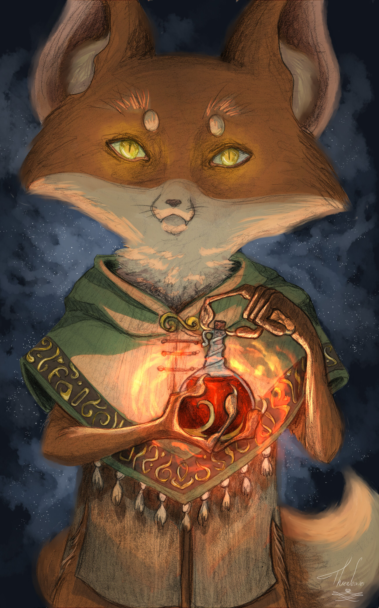 Fantasy illustration of a fox and a magic potion.