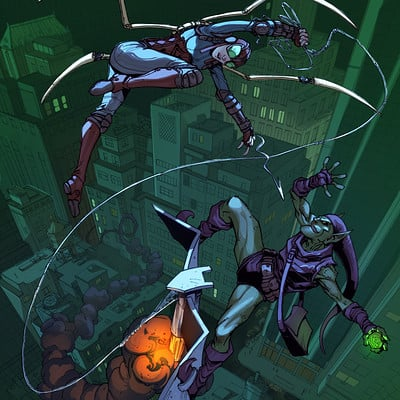 Harrison yinfaowei lady spider vs green goblin by max dunbar 3