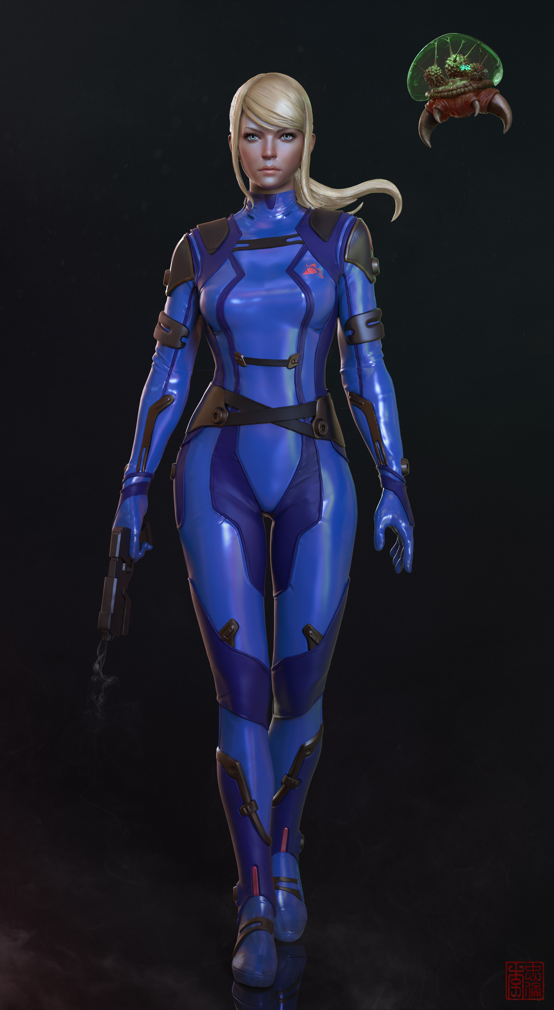 artstation samus aran zero suit metroid allan lee