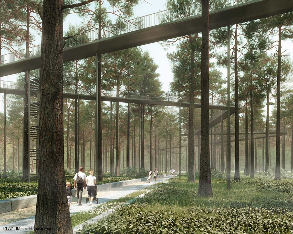 Play time architectonic image oab park in kazakhstan