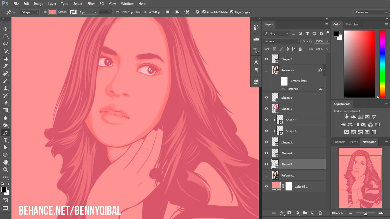 Artstation photoshop tutorial draw vector portrait benny qibal screenshot 2 vexel photoshop tutorial baditri Image collections