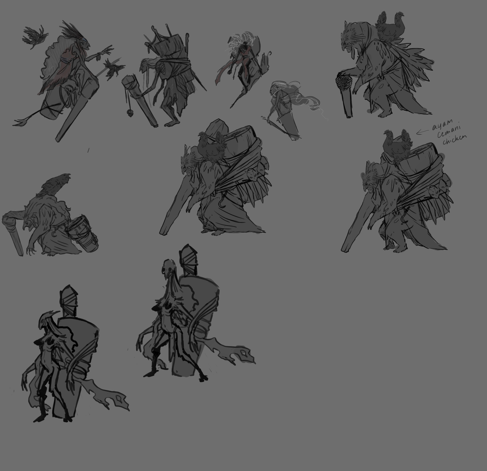 The first few thumbnails for Baba Yaga's design