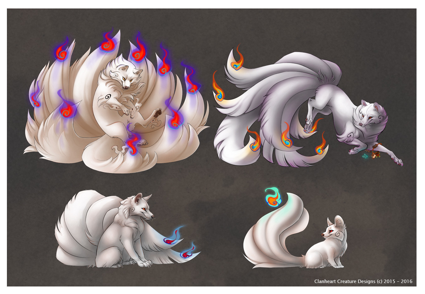 Kitsune Variation Compilation White Base with coloured highlights & Shadows
