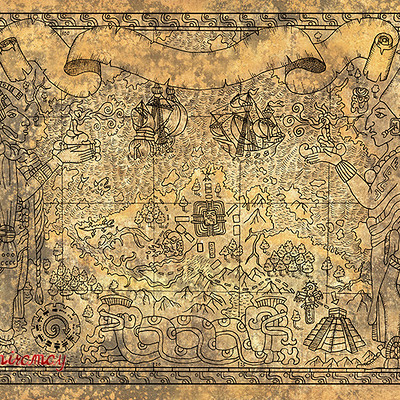 Vera petruk samiramay 1 ancient mayan or aztecs map with gods old ships and temple on paper textured background