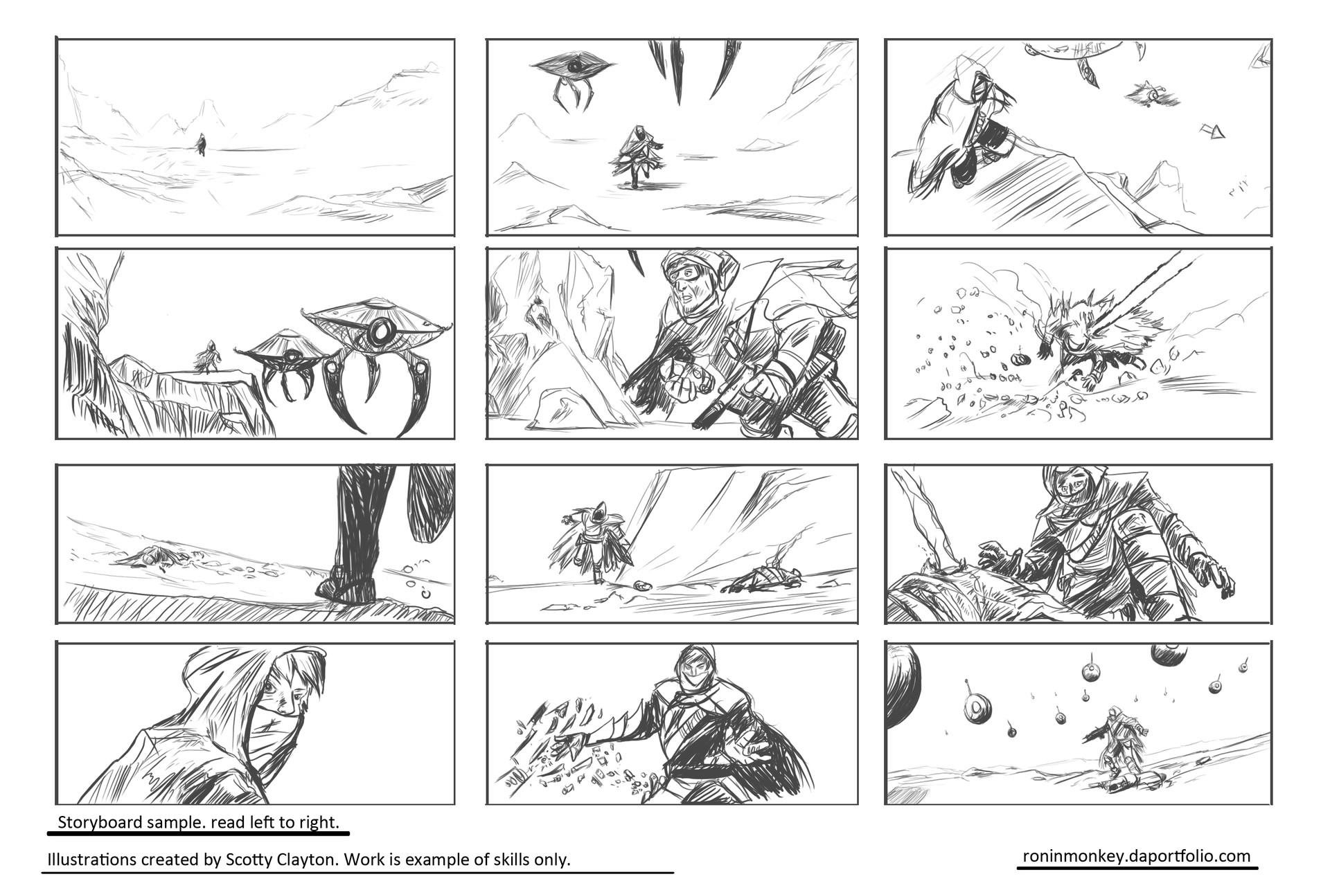 Scotty Clayton Storyboard Sample sheet 1a – Storyboard Sample