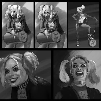 Andrew hunt suicide squad harley sketches 1