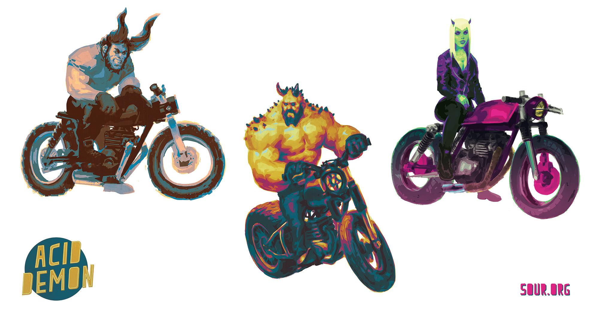 Demon biker trio.