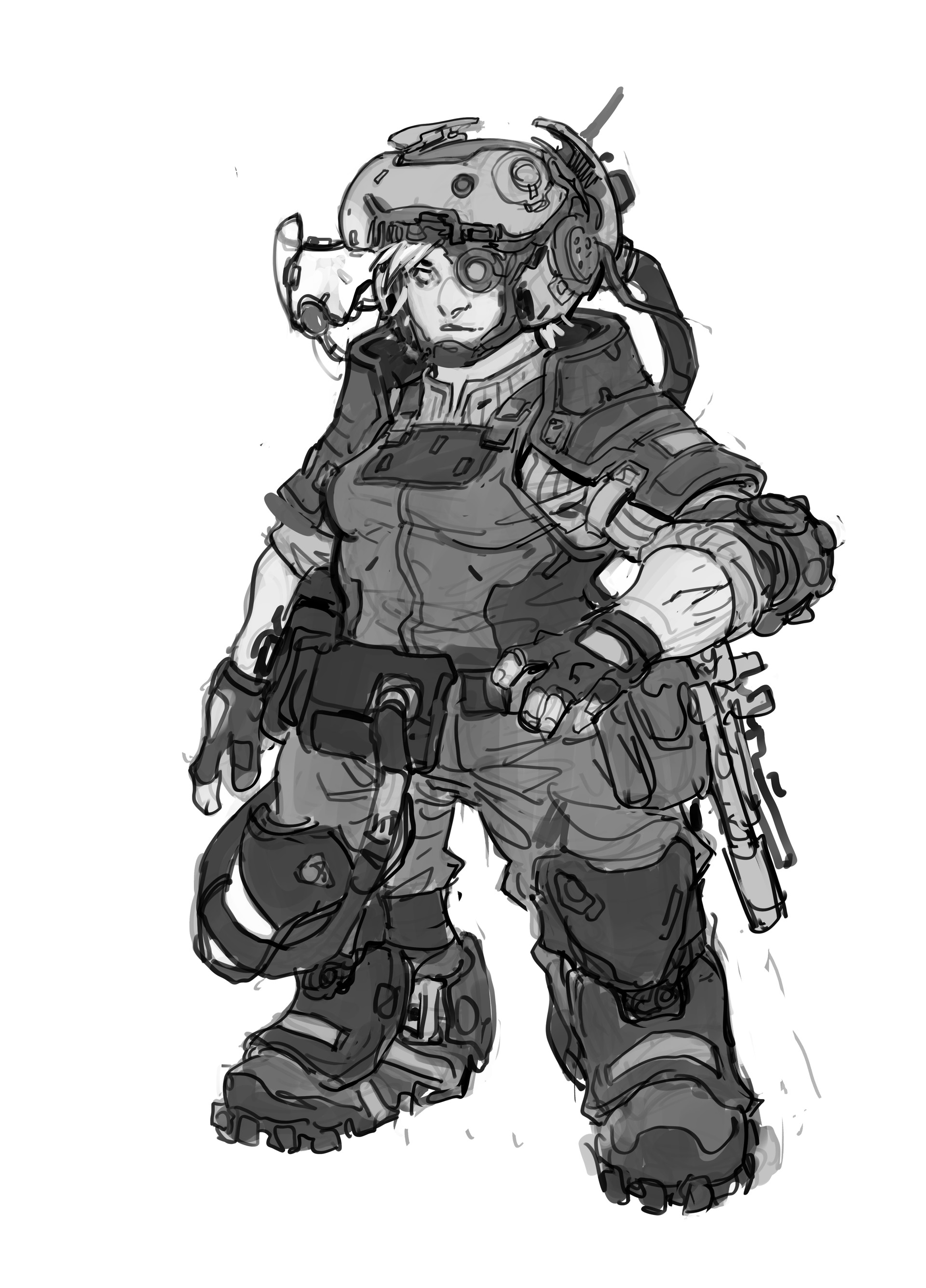 Kory hubbell female mechanic pilot sketch