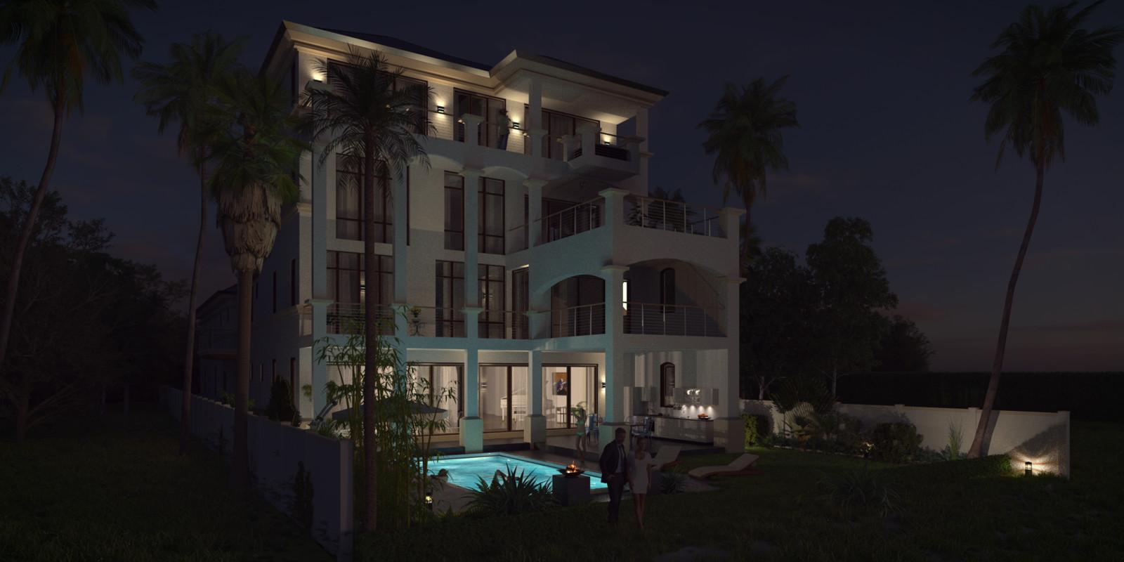 SketchUp + Thea Render  Seagrove Beach House: Scene 69 Night D Lumina 2160 × 1080 Presto MC Bucket