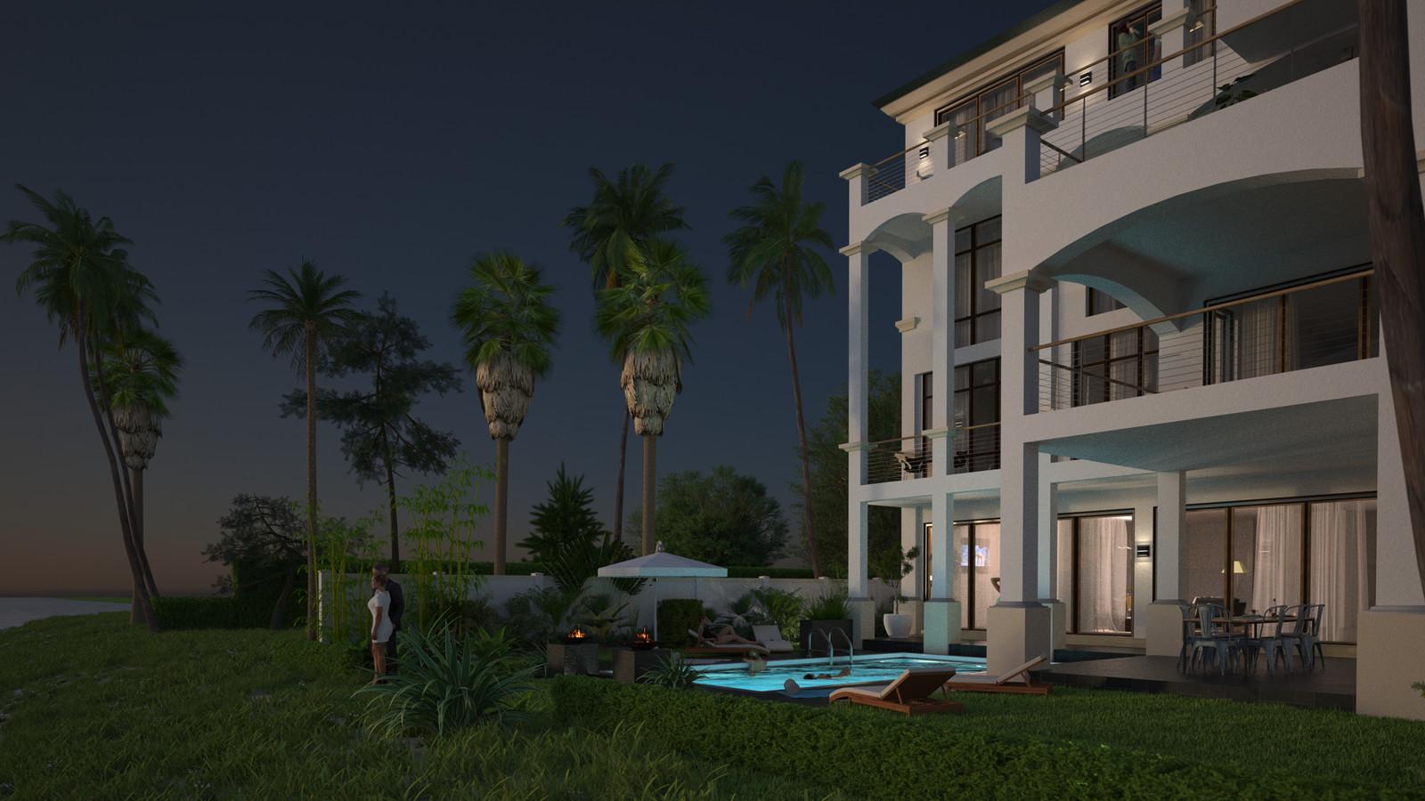SketchUp + Thea Render  Seagrove Beach House: Back Garden 02 2pt Studio Night A 1920 × 1080 Presto MC Bucket