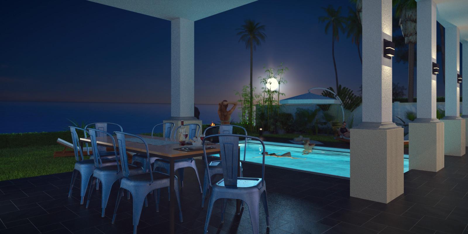 SketchUp + Thea Render  Seagrove Beach House: Ext Kit 05 Studio Night A Lumina 2160 × 1080 Presto MC Bucket