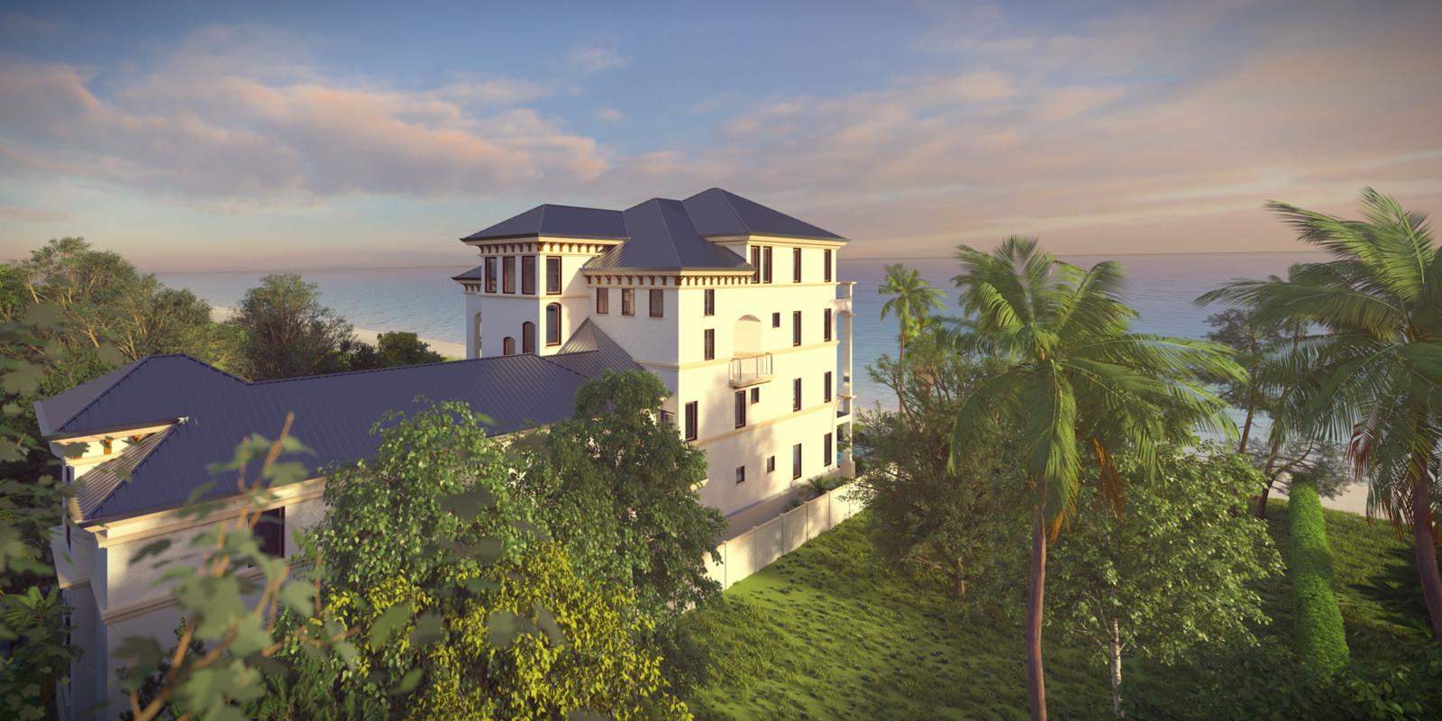 SketchUp + Thea Render  Seagrove Beach House: Scene 11A B Lumina Early 2160 × 1080 Presto MC Bucket