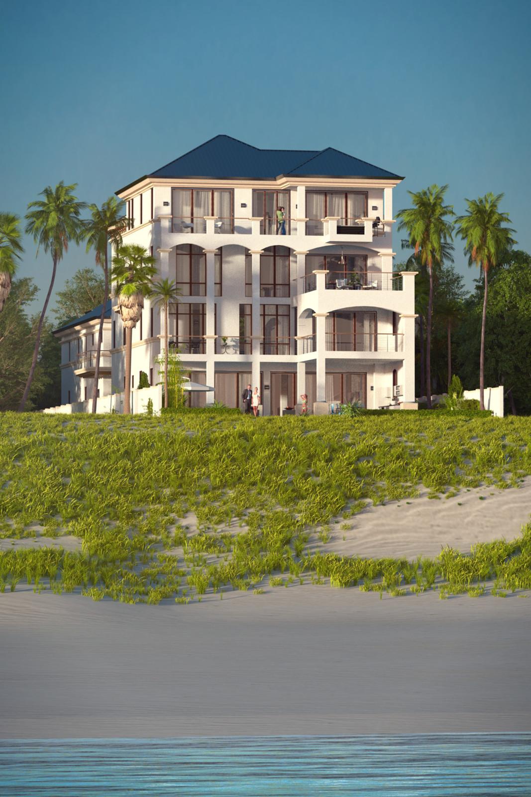 SketchUp + Thea Render  Seagrove Beach House: From Water 02 C Lumina Rise 1080 × 1620 Presto MC Bucket