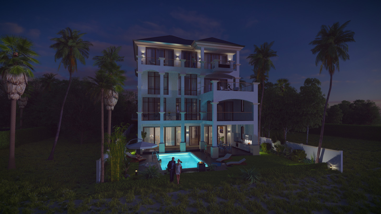 SketchUp + Thea Render  Seagrove Beach House: Scene 54 2pt Studio Night A Lumina 1920 × 1080 Presto MC Bucket