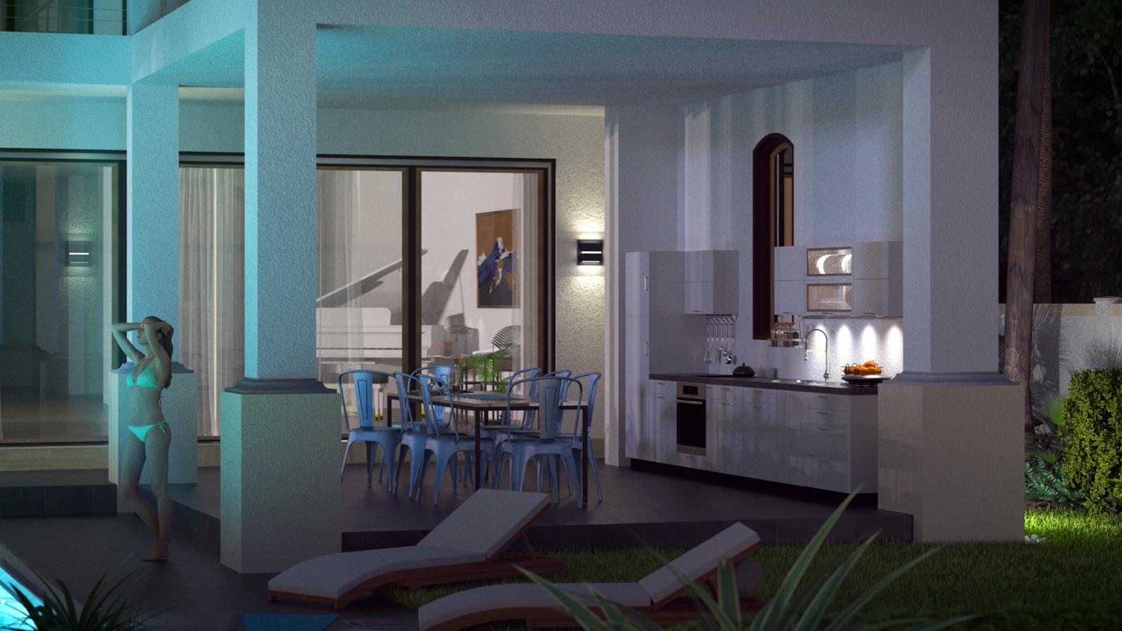 SketchUp + Thea Render  Seagrove Beach House: Ext Kit 02 2pt Night A Lumina Goblin 1920 × 1080 Presto MC Bucket
