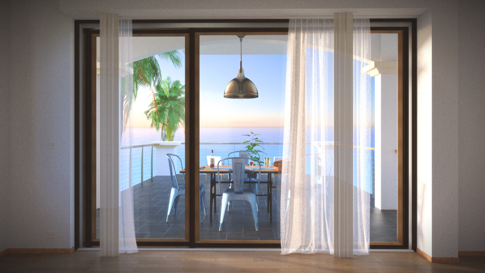 SketchUp + Thea Render  Seagrove Beach House: Scene 30 Int 3rd fl B Rusty 1920 × 1080 Presto MC Bucket