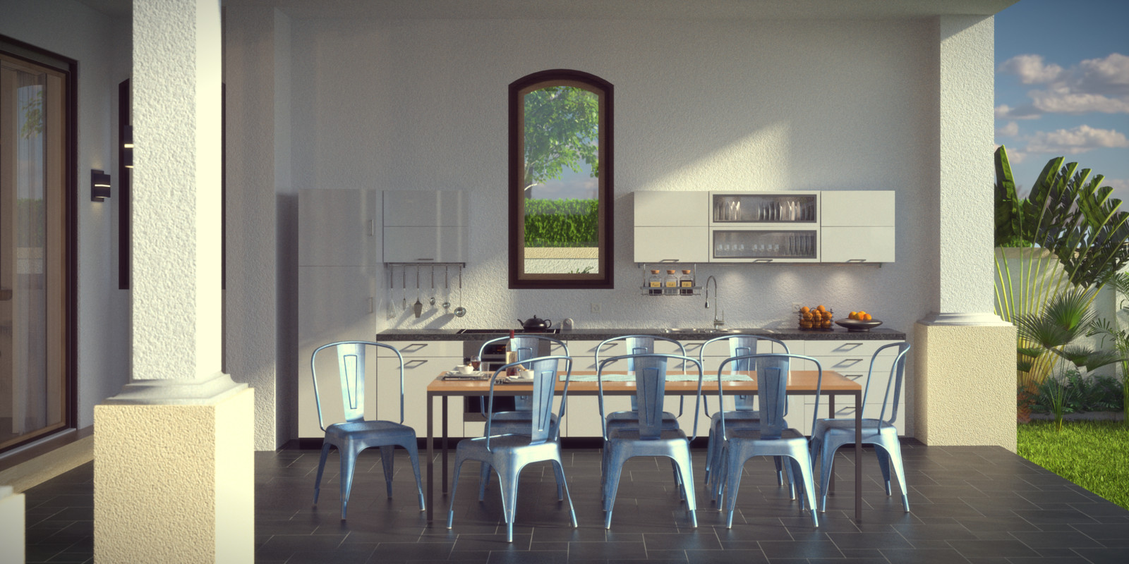 SketchUp + Thea Render  Seagrove Beach House: Ext Kit 03 D Glare Lumina 2160 × 1080 Presto MC Bucket