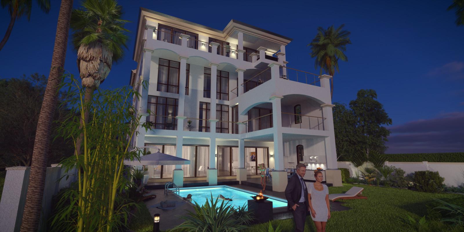 SketchUp + Thea Render  Seagrove Beach House: Scene 20 NIGHT A Glare Lumina 2160 × 1080 Presto MC Bucket