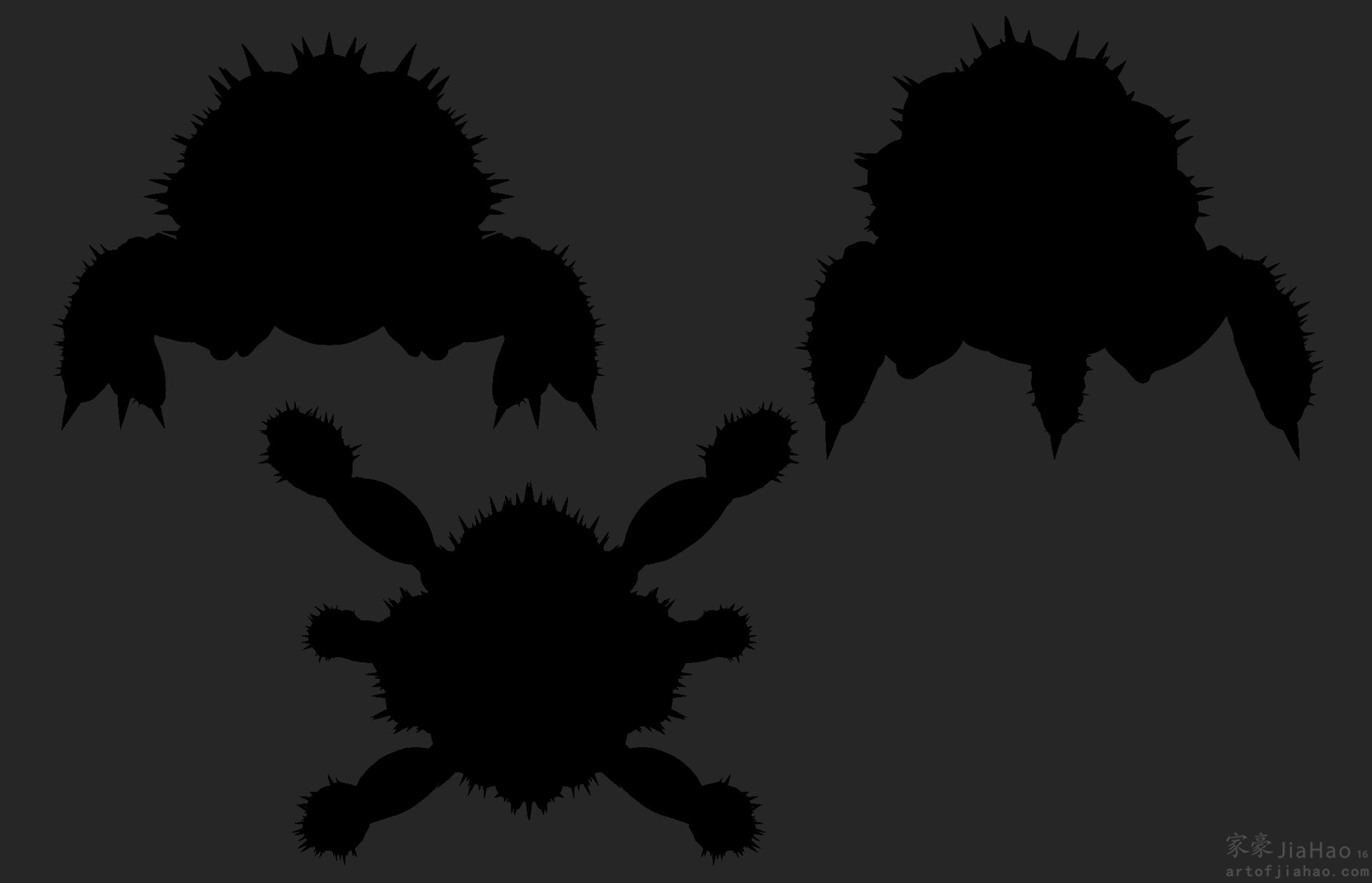 Jia hao 2016 09 spikycrabcreature unposedsilouhette