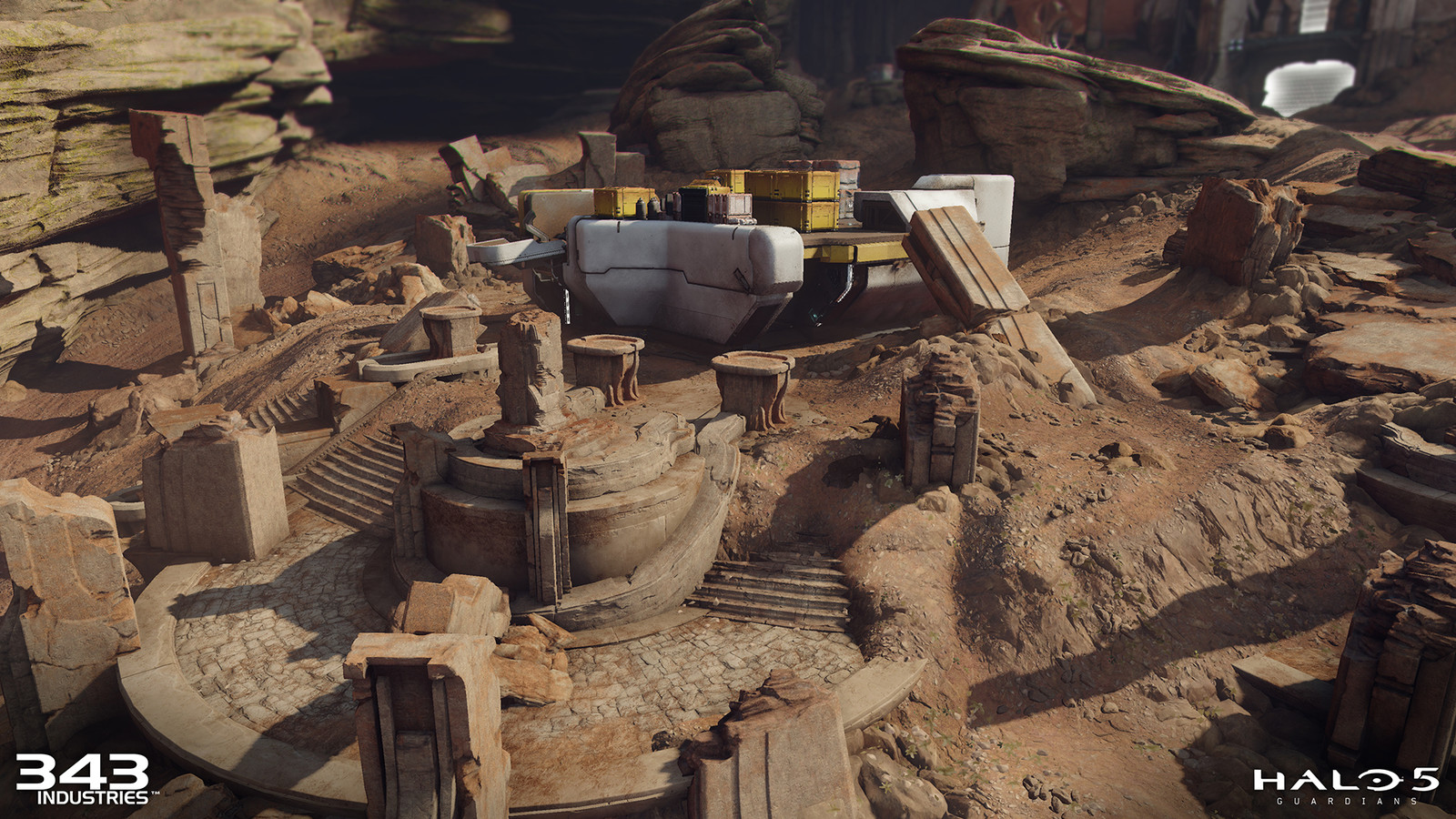 Set up material blending for the dirt and grime on armory base and ruins
