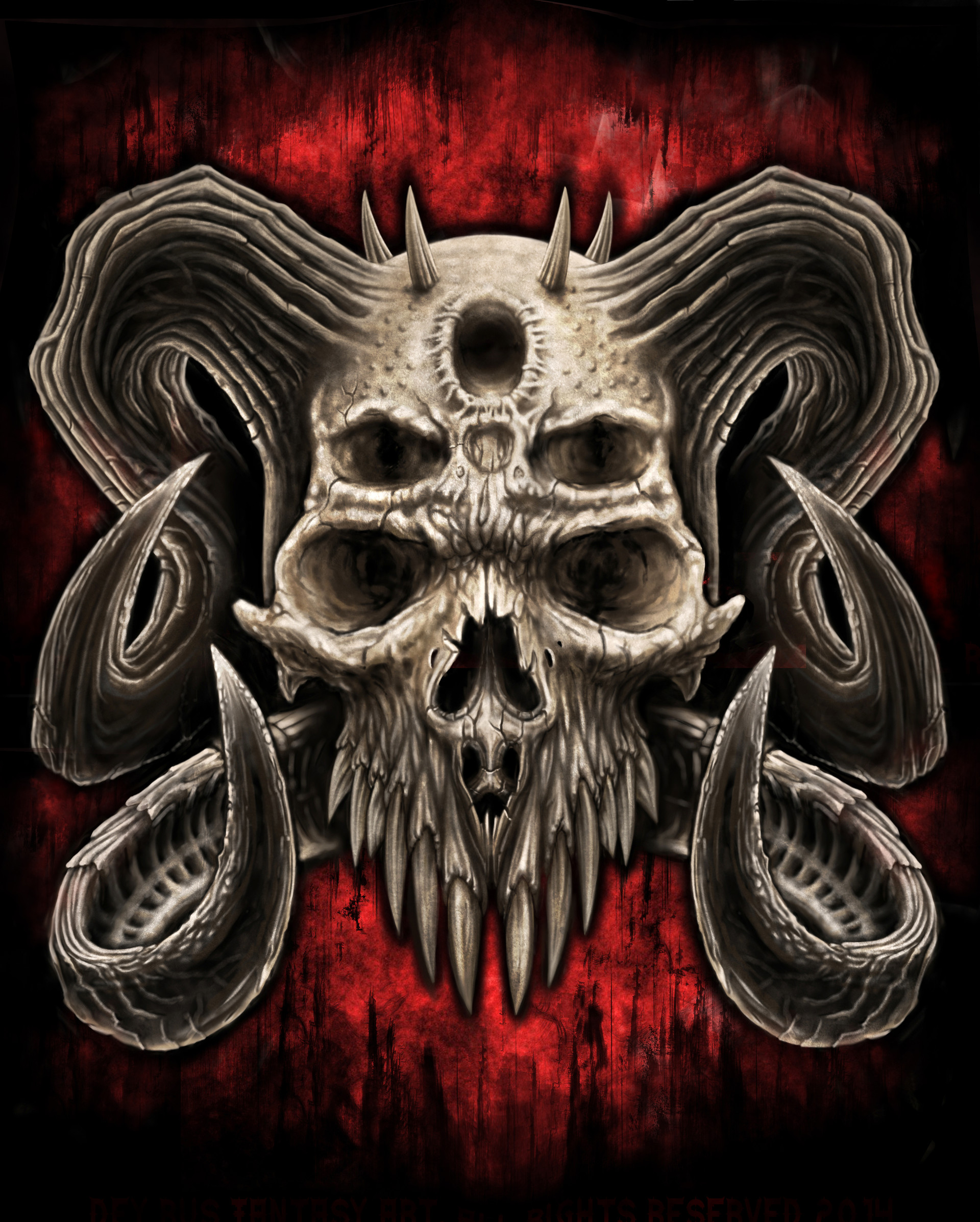 Pictures of skulls and demons