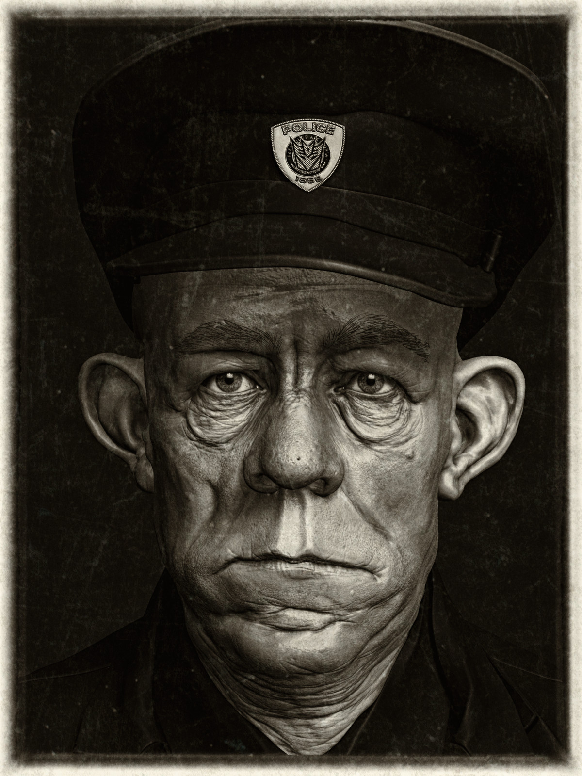 WIP 3D Sculpt of Sergeant de Bruin by Roger Ballen, 1992 (South Africa)