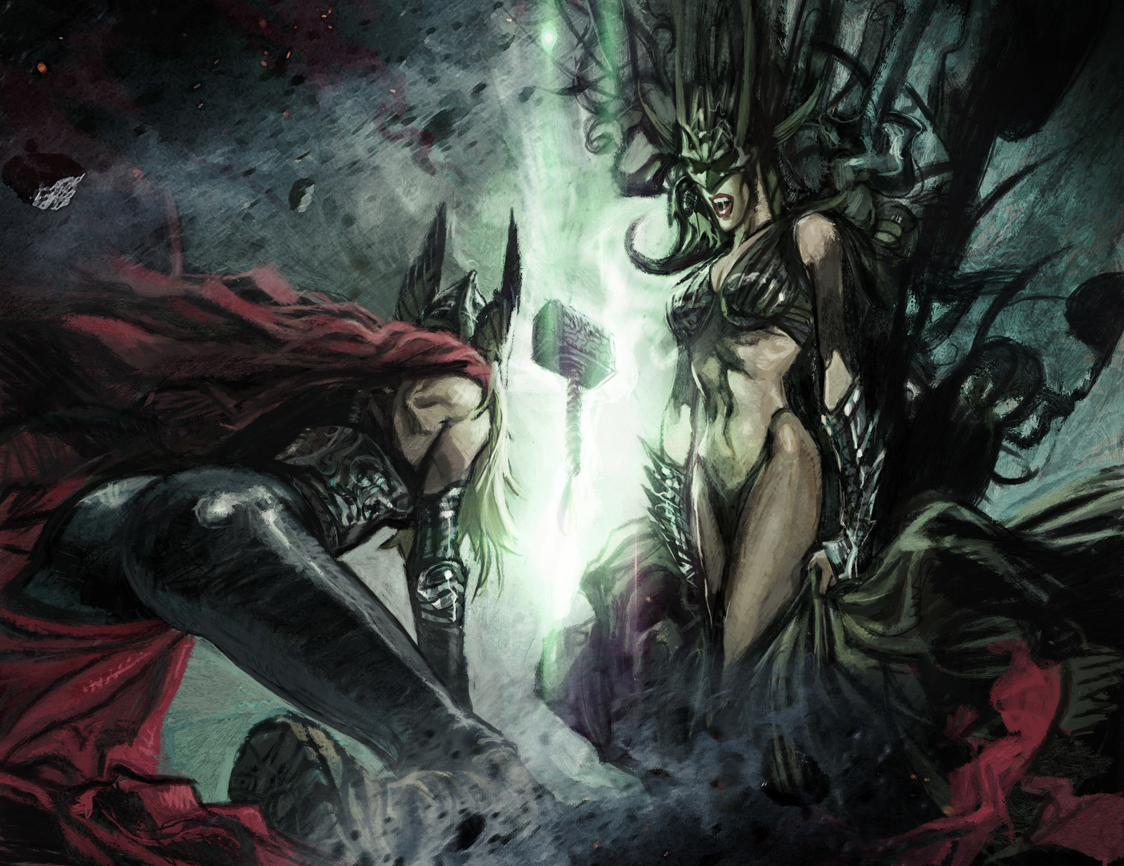 Waiting for Ragnarok- Hela and  Lady Thor