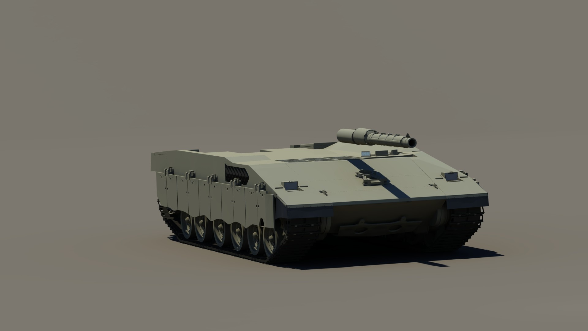 Week 3 WIP render. Added detail to the hull. Added barrel with thermal covers.