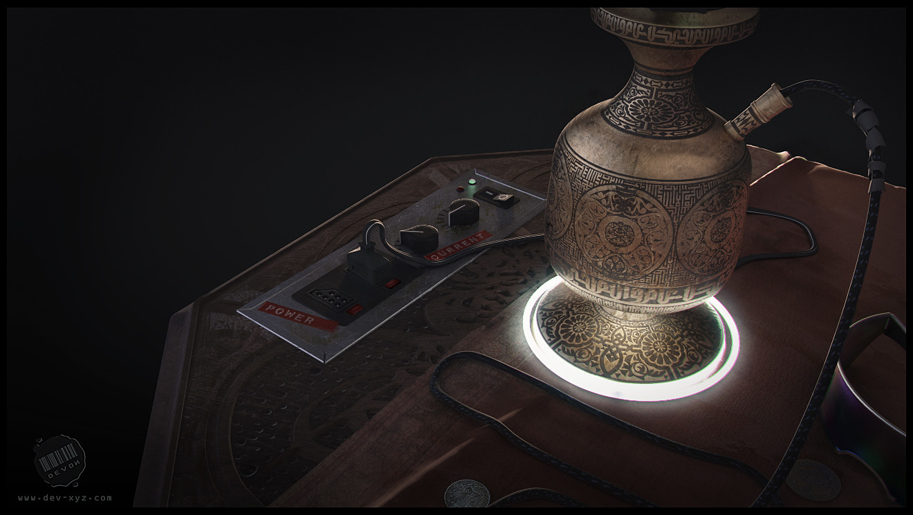 Detail shot of the hookah table