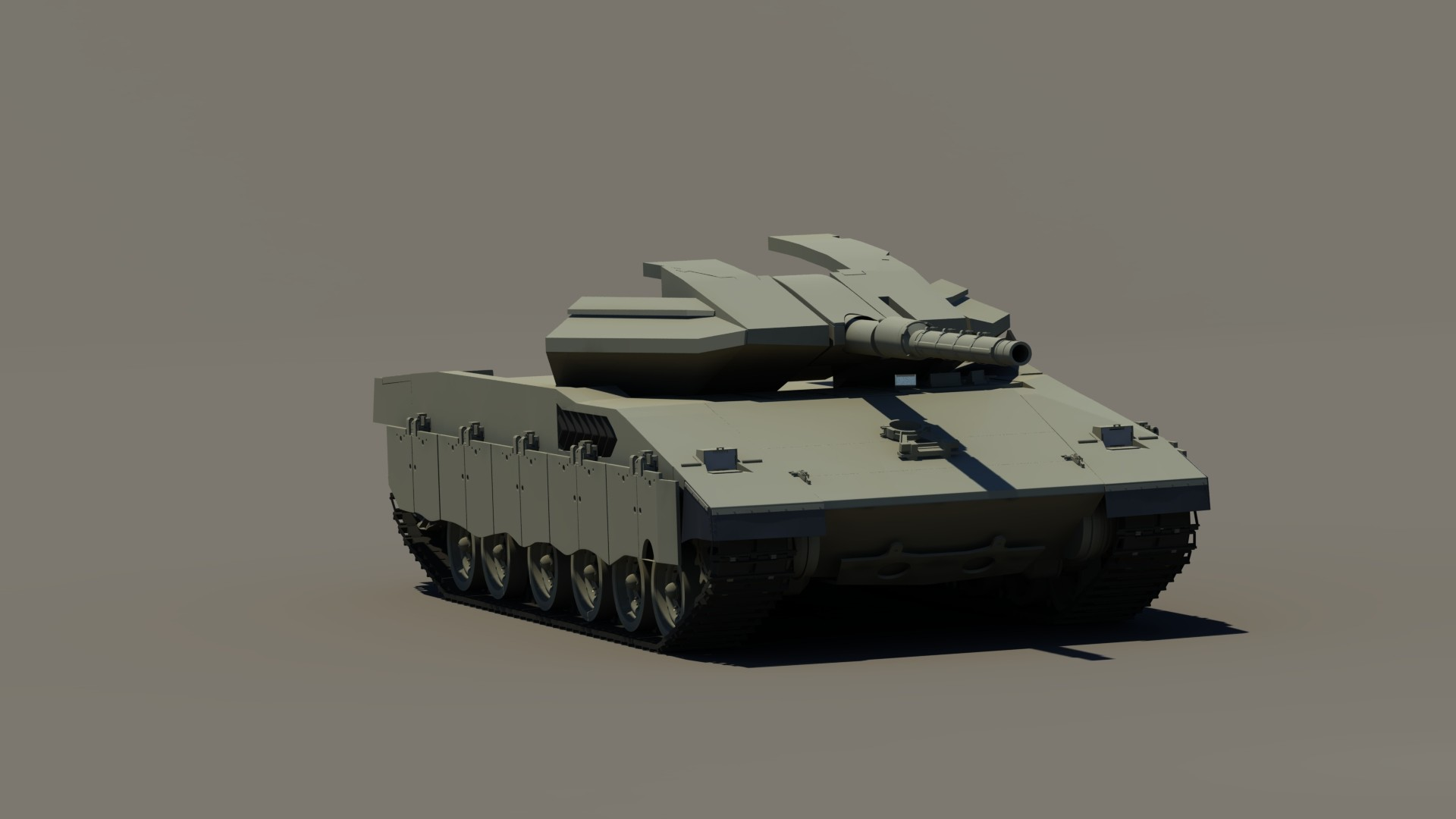 Week 3 WIP render. Front armor sections of turret added.