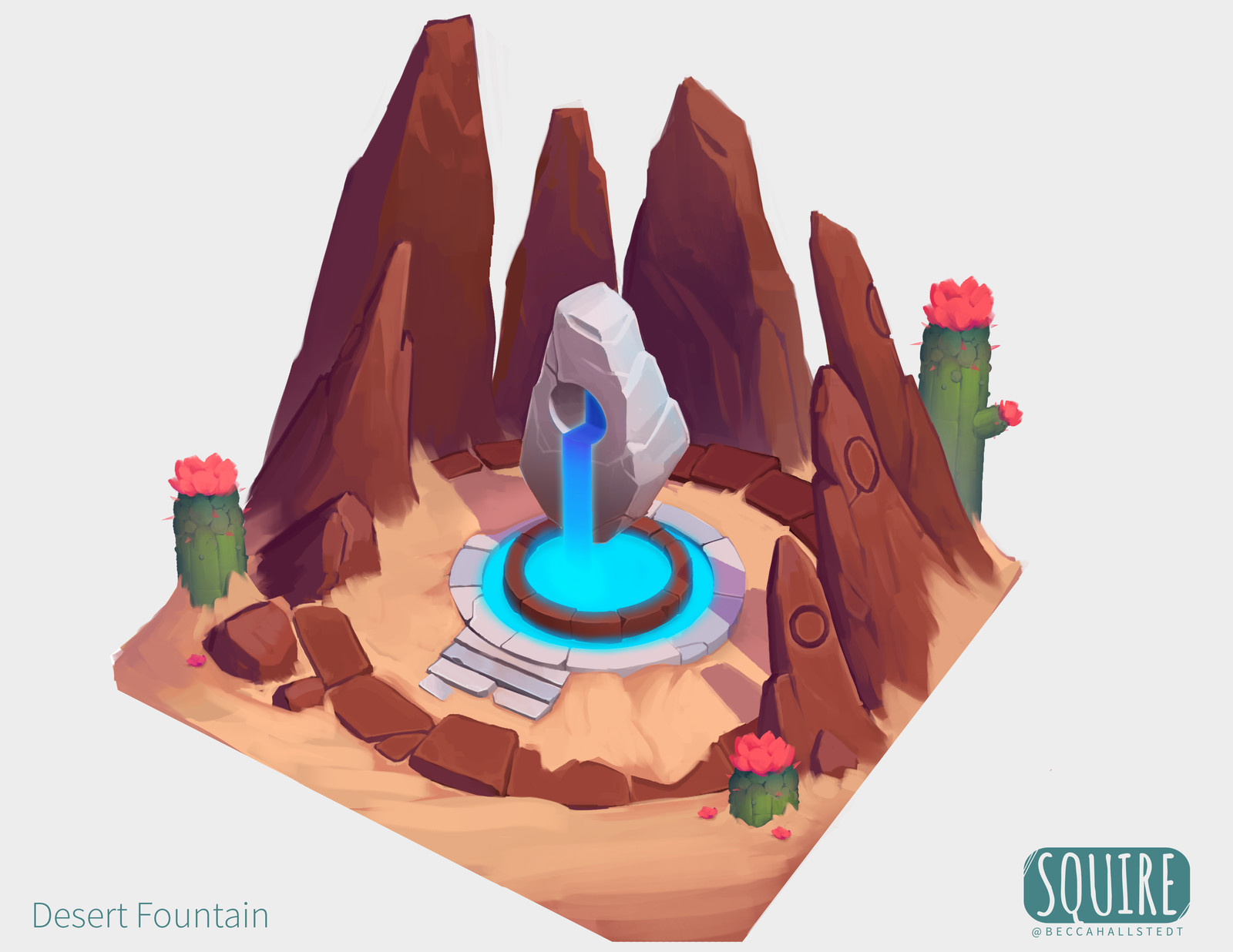 SQUIRE: Desert Fountain with Process