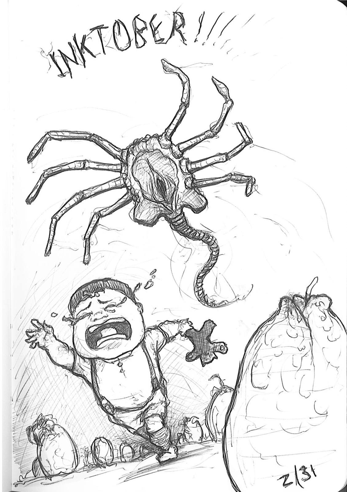 Day 2 Kids and facehuggers. a match made in heaven. Got more scenes using this idea.
