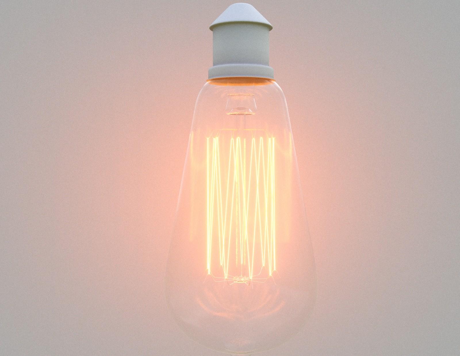 Incandescent Light Test 02. LightMtl - Intensity=500. Temp=2700K. Glass - Refraction=1. Color=255. Glossiness=1. IOR=1.52.  Reflection=1. Color=96. Glossiness=0.9. FrIOR=1.52. Bloom=5. Glare=0.1