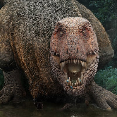 Damir g martin tyrannosaurus on a watering hole