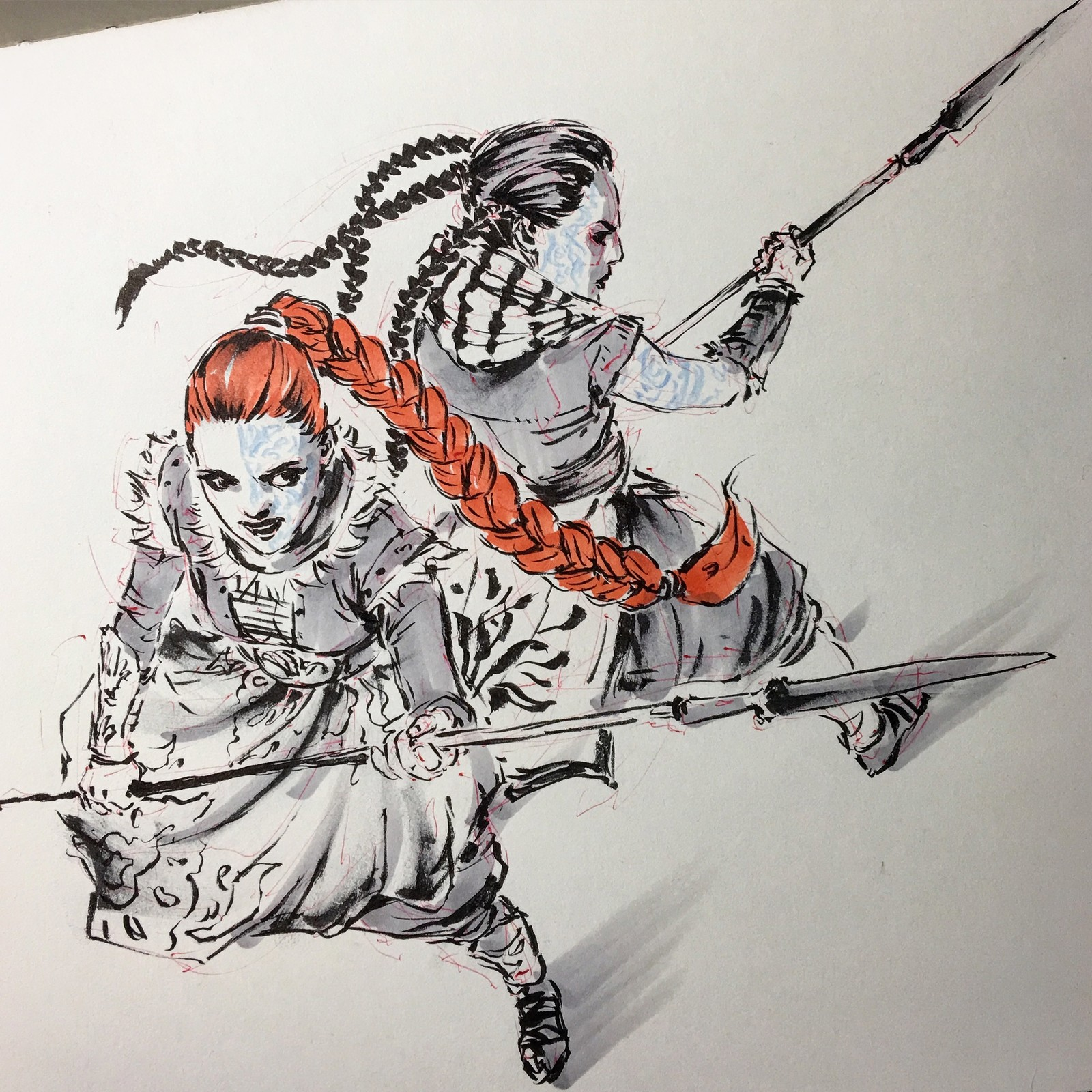INKTOBER - WARRIOR WOMEN in BRUSH PEN