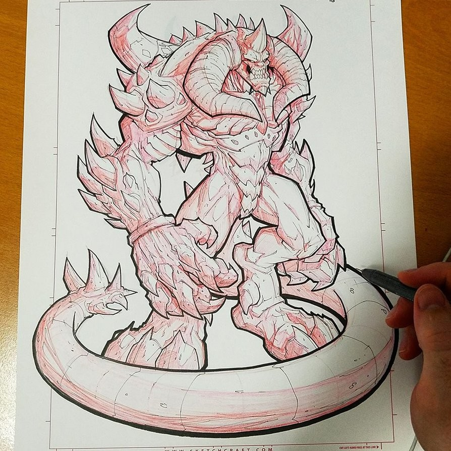 Final linearts - Red Mechanical pencil & Copic Multiliners.