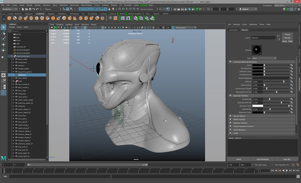 Maya model render set up