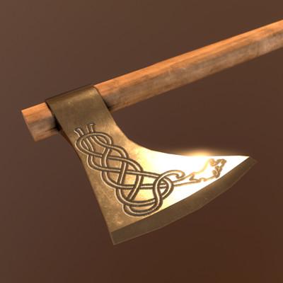 Bela csampai s4h engraved viking axe render mt 01