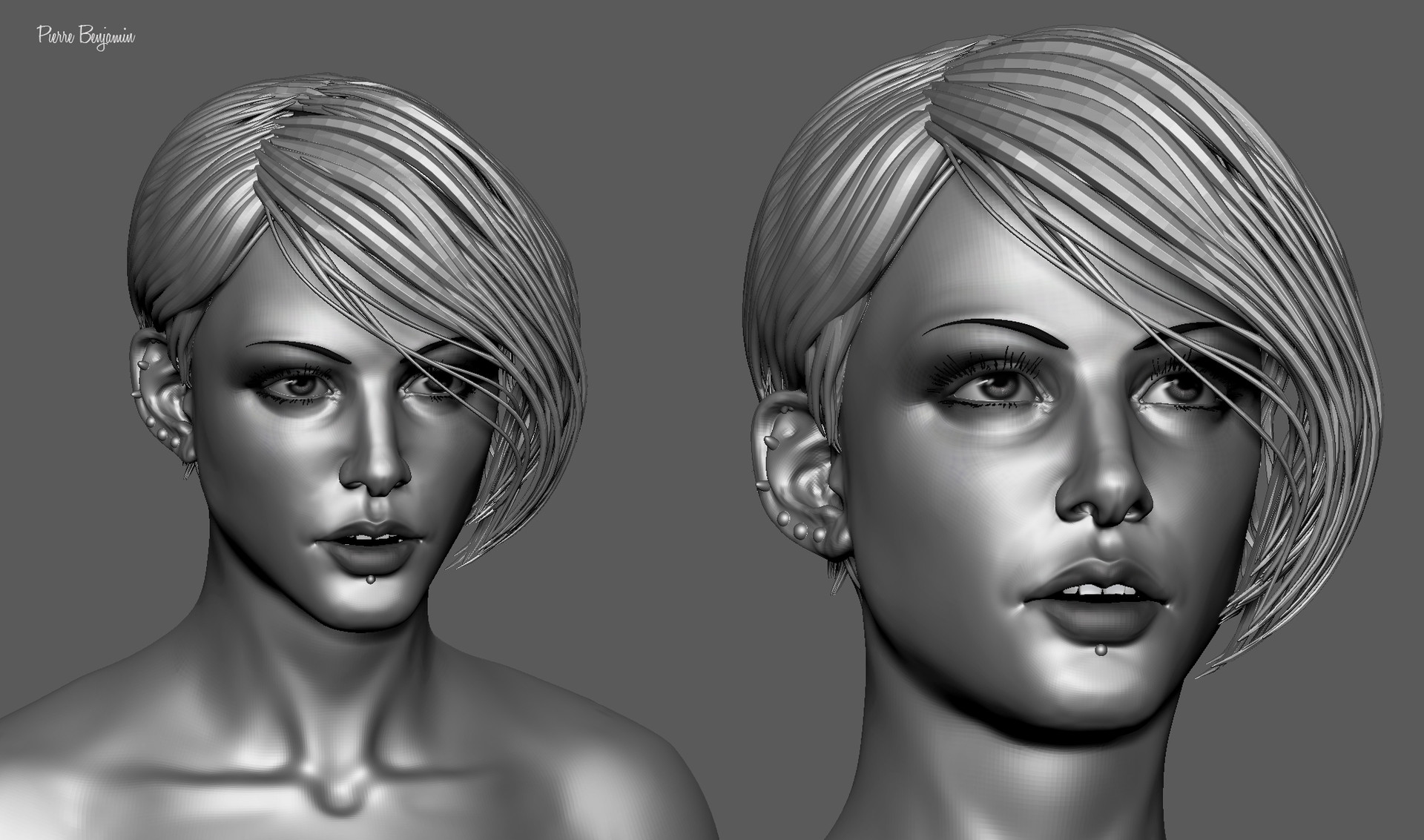 Pierre benjamin stylish woman short hair sculpt 008